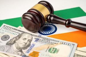 India flag country with gavel for judge lawyer. photo