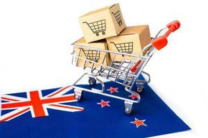 Box with shopping cart logo and New Zealand flag photo