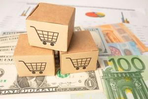 Shopping cart logo on box with Euro and US dollar banknotes photo