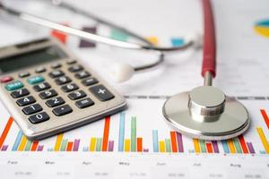Stethoscope and calculator on chart photo
