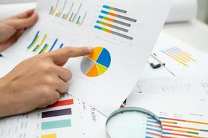 Asian accountant working and analyzing financial reports project photo