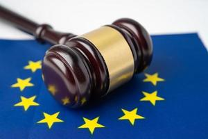 EU flag country with gavel for judge lawyer. photo