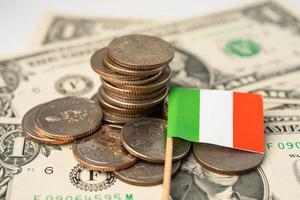 Stack of coins with Italy flag on white background. photo