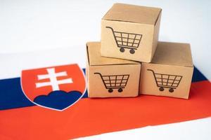 Box with shopping cart logo and Slovakia flag photo