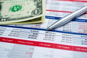 Lápiz sobre papel de hoja de cálculo, concepto de finanzas foto