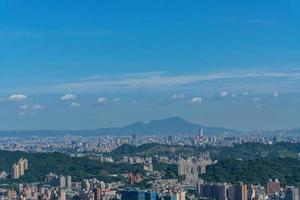 Morning sunny high angle view of the Taipei area from MaoKong photo