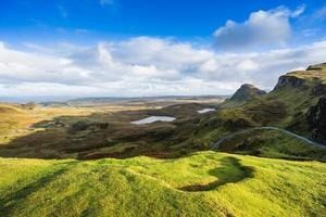 Landscape view of the Quiraing mountains, Scotland photo
