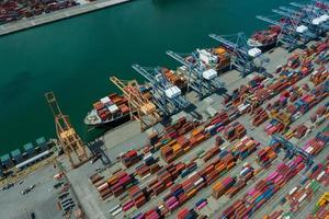 Logistic business, import export shipping, Aerial view Container photo
