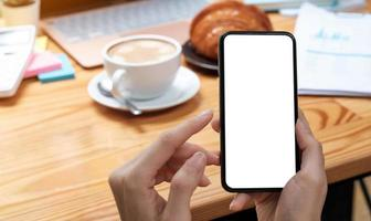 Mockup image blank white screen cell phone photo