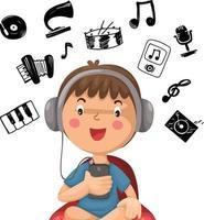 happy boy listening to music vector