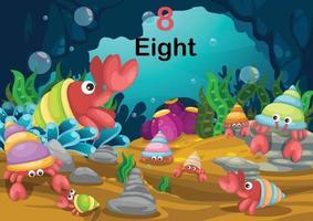 cangrejo ermitaño número ocho bajo el vector de mar