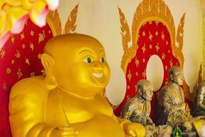 Golden fat laughing Buddha statue at Wat Phra Yai temple, Koh Samui, Thailand, 2018 photo