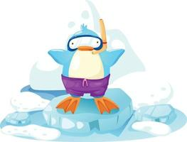 penguin on a bit of ice vector