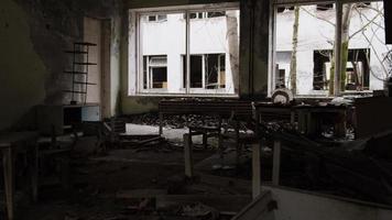 Pripyat, Chernobyl, Ukraine, Nov 22, 2020 - Abandoned school and kindergarten in Chernobyl photo