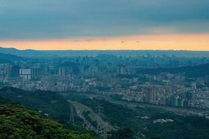 Afternoon high angle view of the cityscape from Wenshan District in Taiwan photo