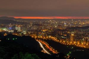 Sunset high angle view of the cityscape from Wenshan District at Taipei, Taiwan photo