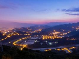 Sunrise high angle view of the Zhitan Purification Plant at New Taipei City, Taiwan photo