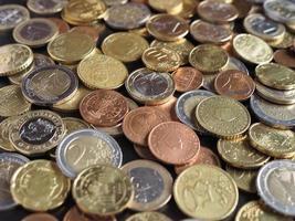 monedas de euro, fondo de la unión europea foto