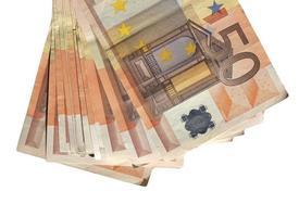 Billetes de euro, unión europea aislado sobre blanco foto