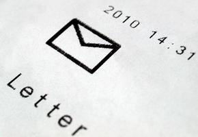 Postage meter on letter photo