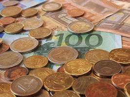 billetes y monedas de euro, unión europea foto