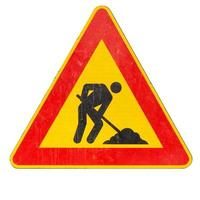 Road works sign isolated photo