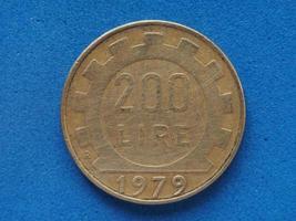 Moneda de 200 liras, Italia foto