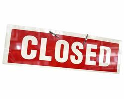 Closed sign isolated over white photo