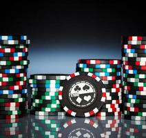 Gambling chips on the dark photo