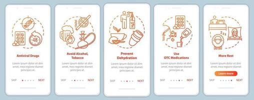 Cure flu onboarding mobile app page screen with concepts vector
