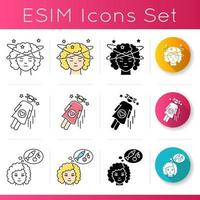 Symptoms of early pregnancy icons set vector
