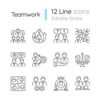 Teamwork related linear icons set vector
