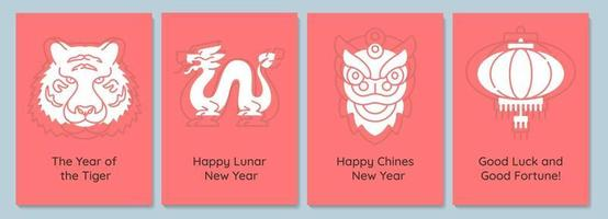 Chinese new year greeting cards with glyph icon element set vector