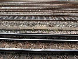 Railway tracks at station photo