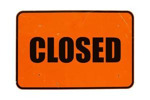 Closed sign isolated photo