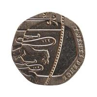 20 pence coin, United Kingdom isolated over white photo