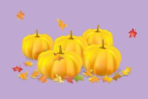 five orange pumpkins multi-colored maple leaves  on a lilac background vector