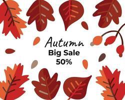 Autumn big sale background. Hand drawn vector illustration