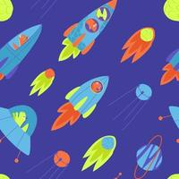 Seamless pattern of rockets with dinosaurs flying in one direction vector