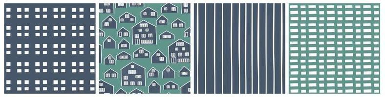 Blue green set of abstract wooden house seamless patterns vector