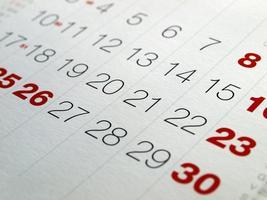 detalle de la página del calendario foto