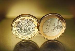 1 pound and 1 euro coin over metal background photo