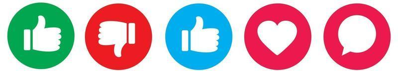 Thumbs up and down flat icon. Like icons. Hands icon. vector