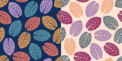 Colorful leaves plants seamless pattern vector