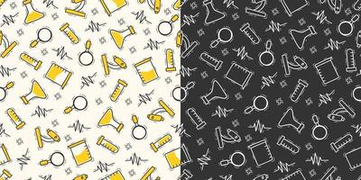 Hand drawn doodle laboratory bottle seamless pattern vector