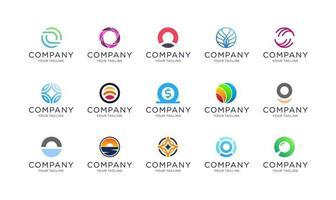 Collection of abstract circle logo template vector