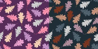 Autumn leaves seamless patterns vector