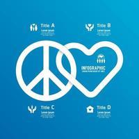 Peace love flat line infographic concept design Illustration vector. vector
