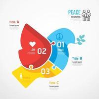 Peace Bird shape jigsaw banner. Concept Design infographic vector
