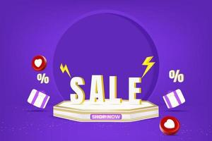 super sale banner promotion with podium. vector